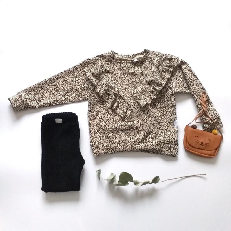 Isa Sweater ruffels panter zand