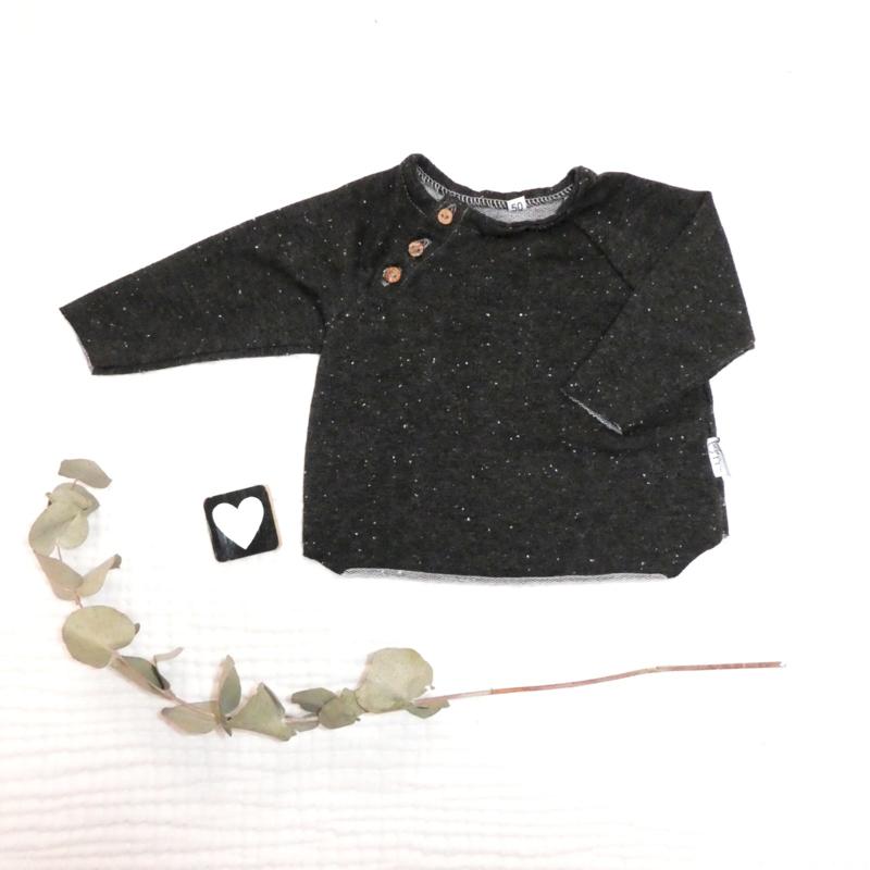 Raglan trui donker grijs spikkels