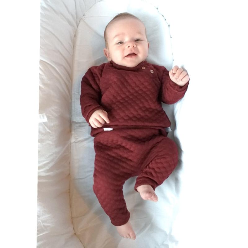 Raglan sweater jaquard bordeaux