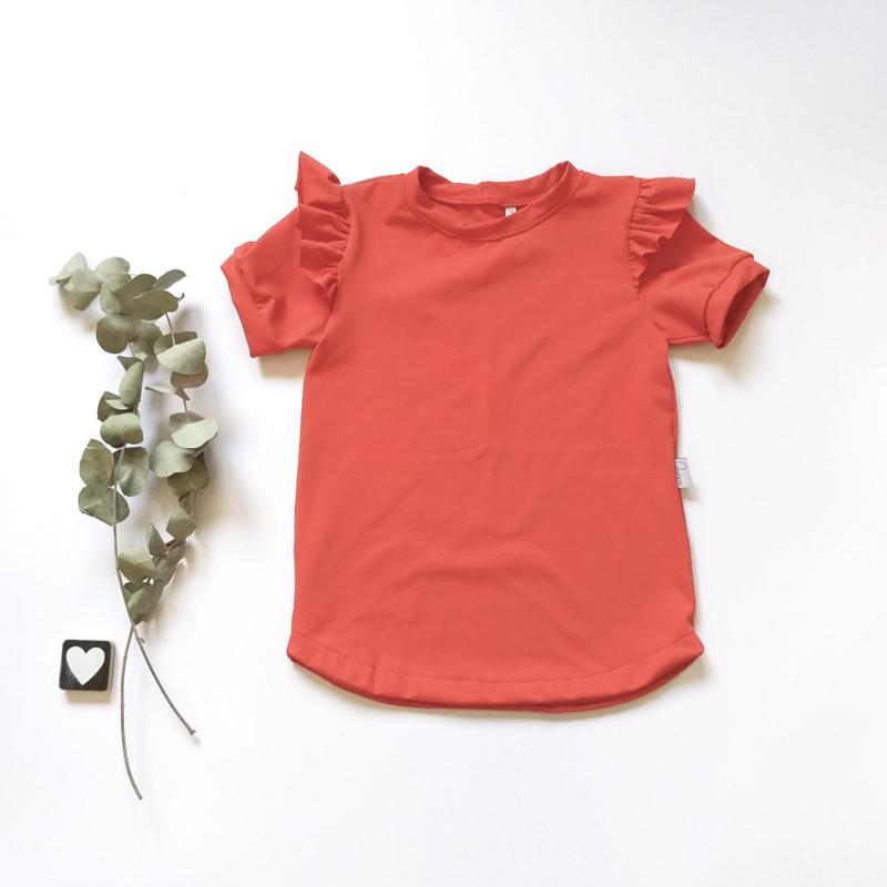 T-Shirt ruffels rood