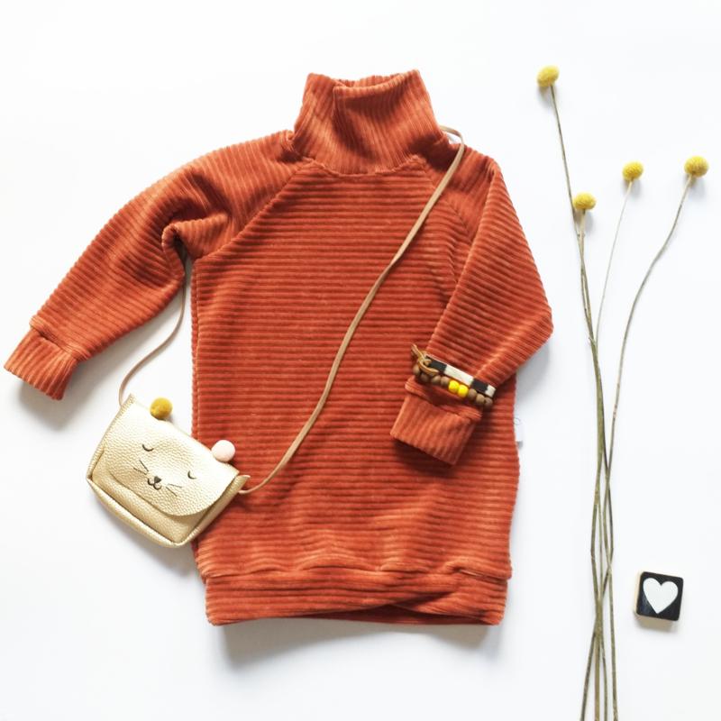 Sweaterdress turtleneck  cordurody kleurkeus