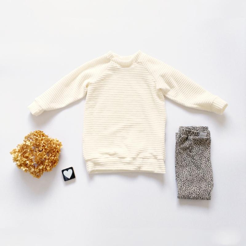Sweaterdress corderoy kleurkeus