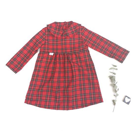 Geplooide jurk peterpan kraagje  Schotse ruit
