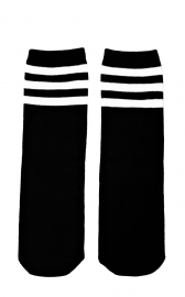 KNIEKOUSEN BLACK WHITE STRIPES