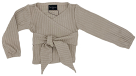 WRAP TOP KNITTED RIB BEIGE