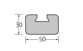 kunststof bevestigingsprofiel zwart 50 x 30 mm  1 x 4 m¹