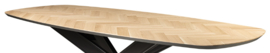 Deens ovale visgraat eiken tafelblad  Demlin excl onderstel