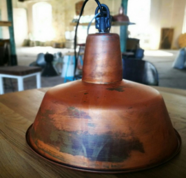 INDUSTRIELE LAMP 32CM ENAMEL KOPER RUSTICAL