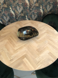 Ronde visgraat eiken tafel Lawica Sol