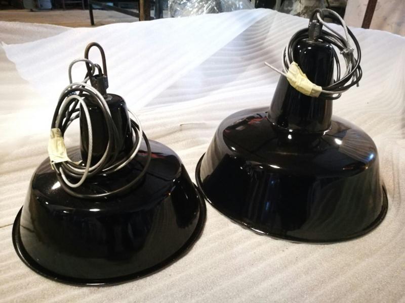 INDUSTRIËLE LAMP 32CM ENAMEL BLACK OF ELKE RAL KLEUR