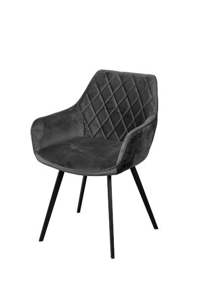 Dior stoel velvet anthracite / cognac (2x)
