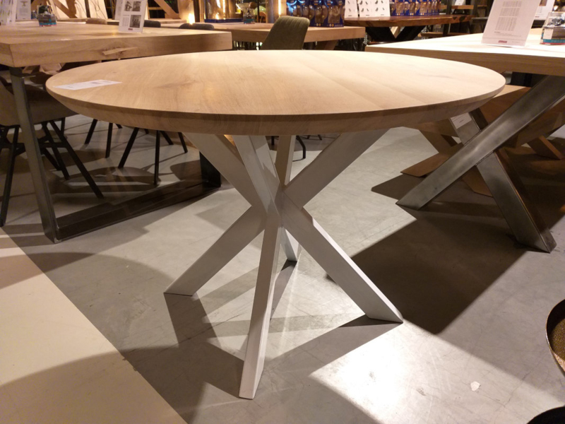 Ronde eiken tafel Rowy Matrix 8x4cm (2cm dik blad)