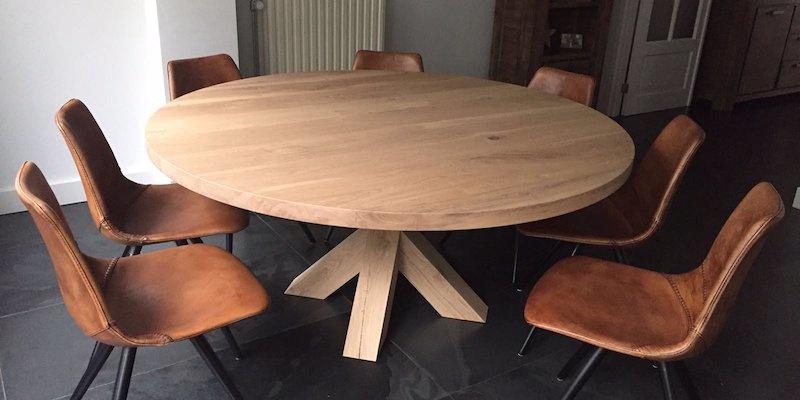 Ronde eiken tafel Rowy Matrix eiken (2cm dik blad)