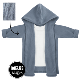 KNITTED HOODIE - JEANS BLUE