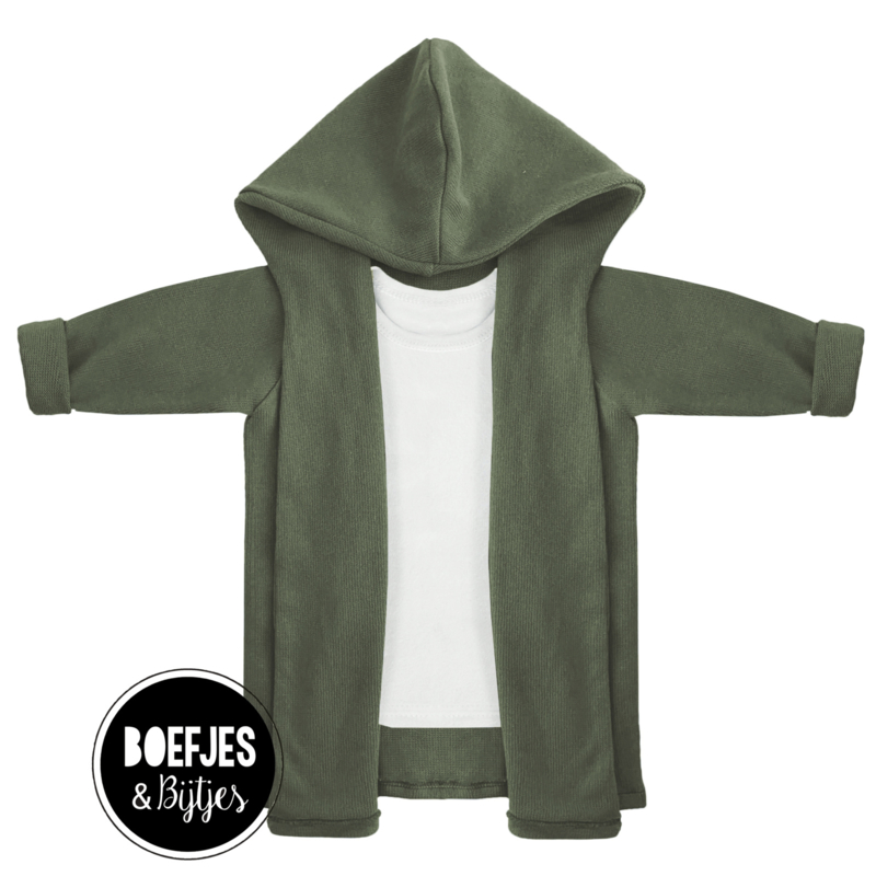 KNITTED HOODIE - ARMY GREEN