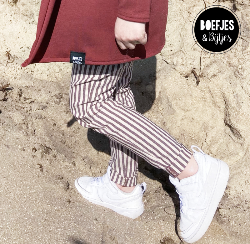 STRIPED CHINO - ROSEWOOD