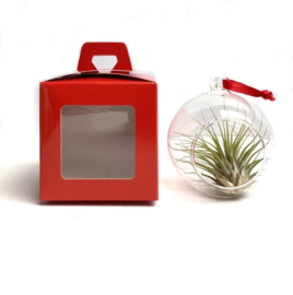 8cm Glasbol in cadeauverpakking (Rood)