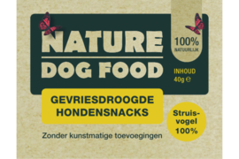 Nature dog gevriesdroogde Struisvogel 40gr