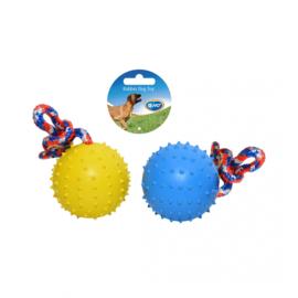 Rubber bal met touw en relief patroon , 7 cm