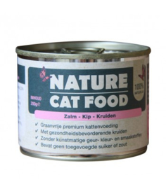 Nature Catfood Zalm, Kip en Kruiden, 200gr. Graanvrij.