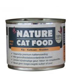 Nature Cat Kalkoen,Kip en Kruiden 200gr. GRAANVRIJ.