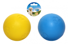 Rubber squeaky ball soft Blauw/geel 5CM