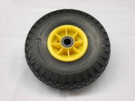 Wiel 3.00 - 4 anti-lek gele kunstst. velg rollager asgat 20 mm