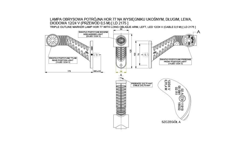 Set LED breedtelampen lang 12V/24V set8