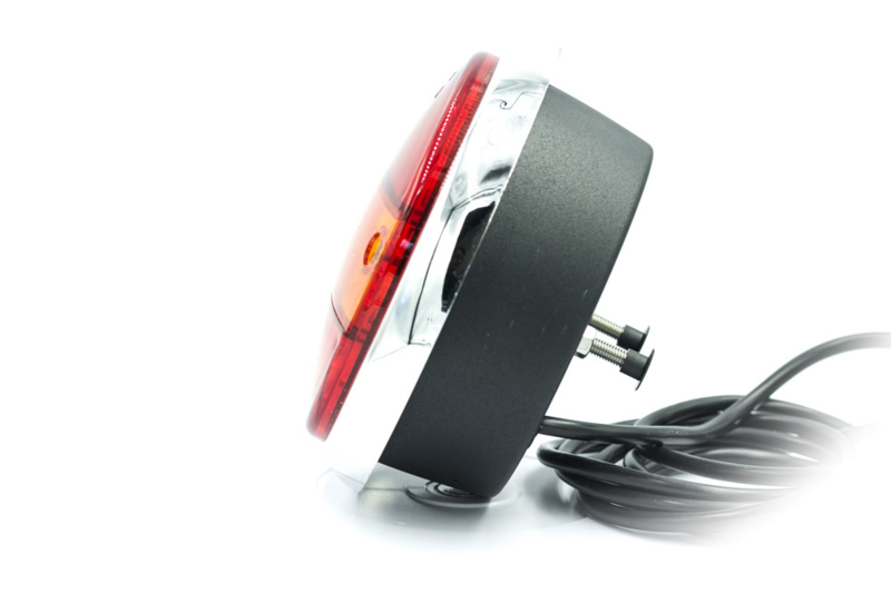 Led achterlamp rond 12/24V met chromen ring