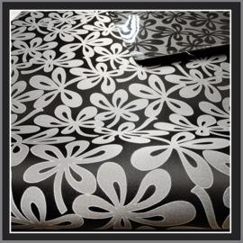 nr. 510 Marosa bloem zwart op grijs, geplakt op glashelder pvc.  ( kl 2 ).