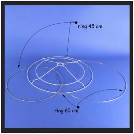Set lampenkap ringen voor een dubbele cilinder kap.