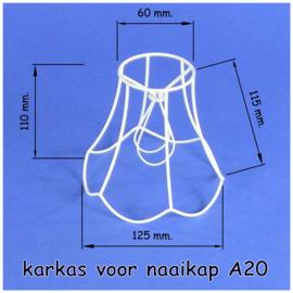 Model A20 frame 13 cm. voor een genaaide span lampenkap