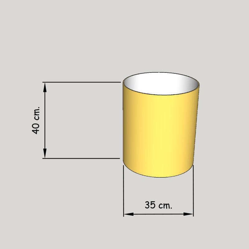 cilinder dia  350 mm.,  hoogte 400 mm. (of 350 mm.); stof klasse 1