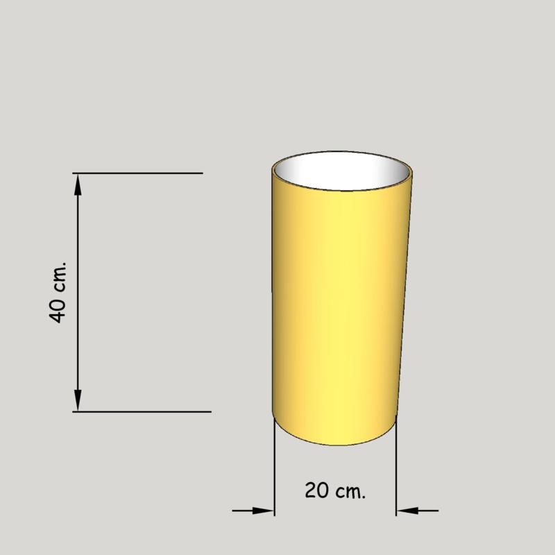 cilinder dia  200 mm.,  hoogte 400 mm. (of 350 mm.); stof klasse 2