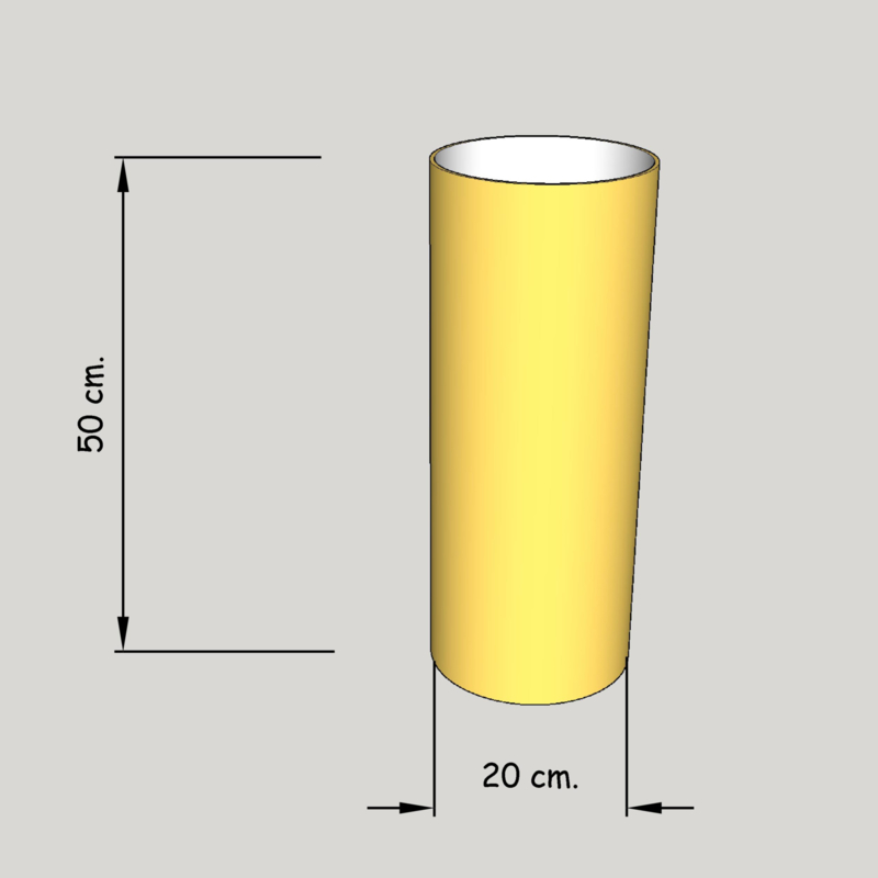 cilinder dia 200 mm., hoogte 500 mm. (of 450 mm.); stof klasse 2