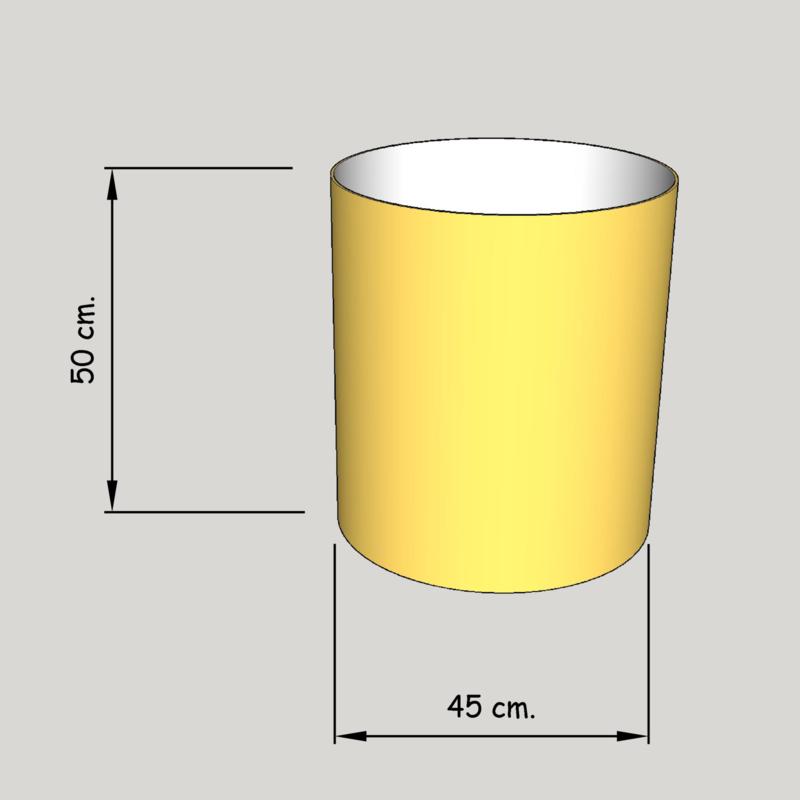 cilinder dia 450 mm, hoogte 500  mm (of  450 mm.); stof klasse 2