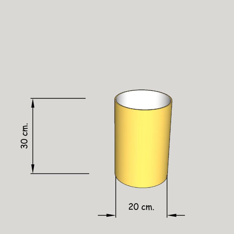 cilinder dia  200 mm.,  hoogte 300 mm. (of 250 mm.); stof klasse 2
