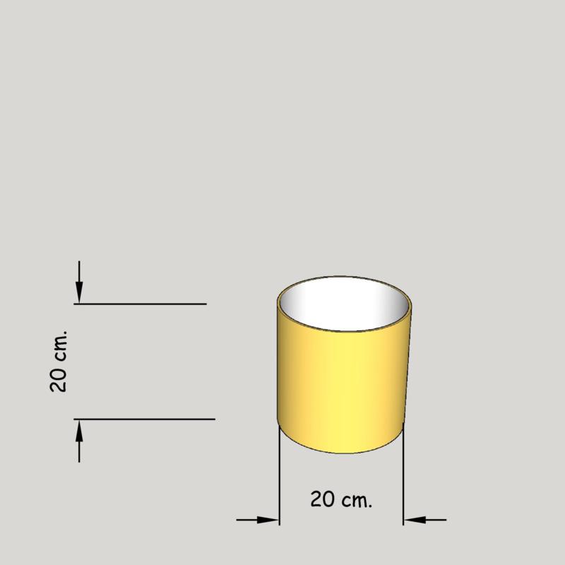 Cilinder dia 200 mm. hoogte 200 mm. (of  150 mm.), stof klasse 1