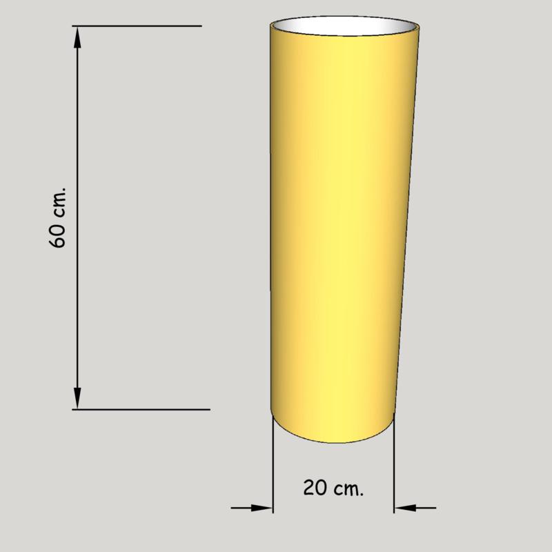 cilinder dia 200 mm., hoogte 600 mm. (of 550 mm.); stof klasse 2