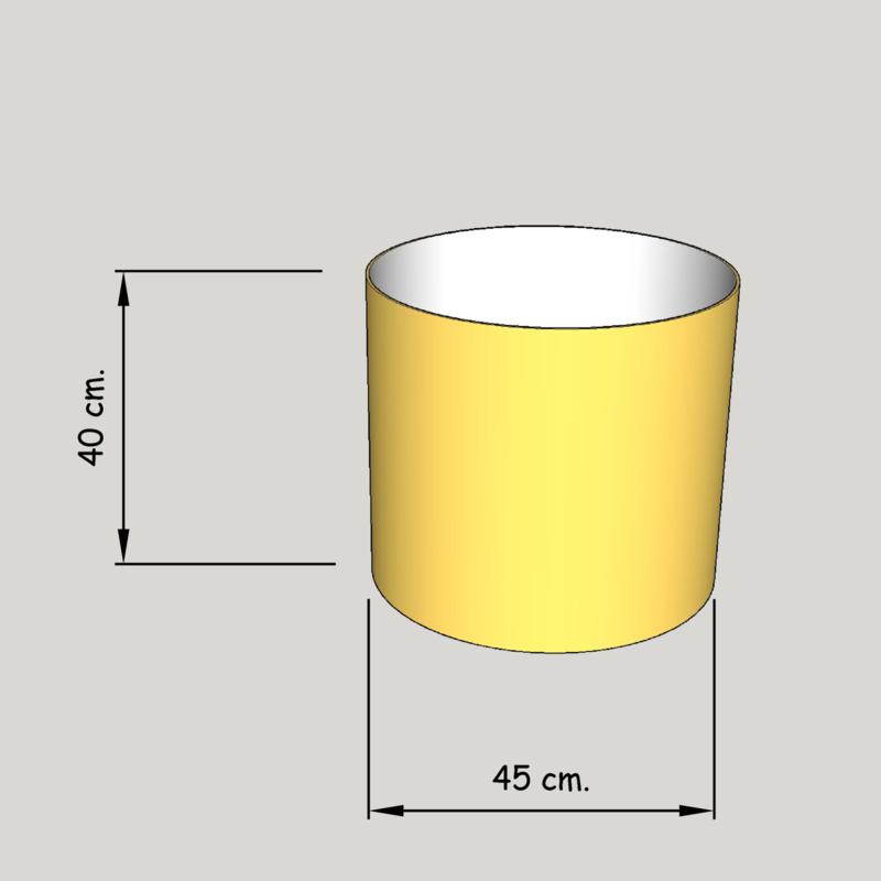 cilinder dia  450 mm.,  hoogte 400 mm. (of 350 mm.); stof klasse 2