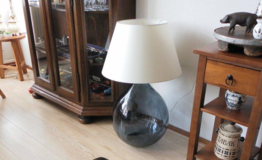 glazen lampvoet met kap