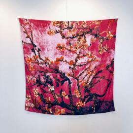 Van Gogh Amandelbloesem | Zijden Sjaal Dames | Zijden blend | 130*130CM | Giftbox | shawl stola | Schilderij | Roze oranje