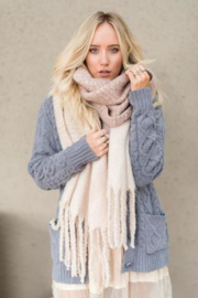 Winter sjaal - extra lang - oversized sjaal - rechthoek blush roze beige