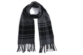 Fliex heren winter sjaal lang 190*32CM - Grijs en zwart - geruit