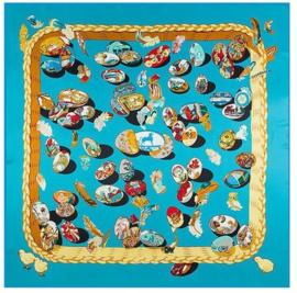 Emilie Scarves Sjaal Zijden blend 130*130CM Blauw - Fabergé - Giftbox