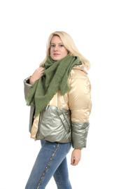 Emilie Scarves dames winter sjaal vierkant - legergroen