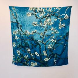 Van Gogh Amandelbloesem | Zijden Sjaal Dames | Zijden blend | 130*130CM | Giftbox | shawl stola | Schilderij | Blauw