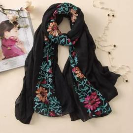 Embroidered sjaal zwart
