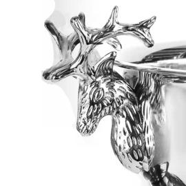 Champagnekoeler extra groot - hertenkoppen - zilver