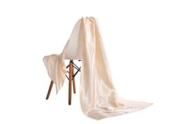 Emilie Scarves omslagdoek sjaal Lang Satijn - gebroken wit / crème - 200*70CM